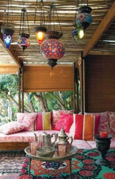 Patio Ideas Bright Colors Patio Moroccan Theme Light Fixtures Tea Set Flower Carpet Hot Pink Pull Shades