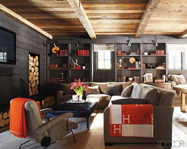 Cozy Basement With Gray And Orange Color