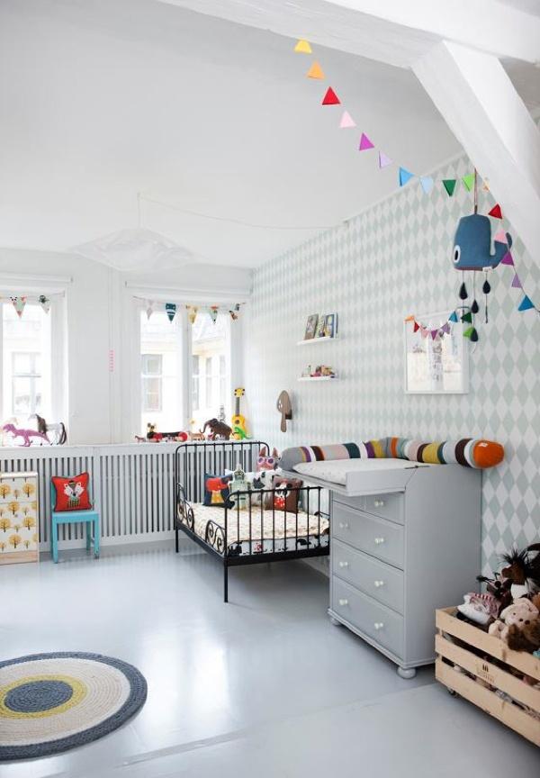 Grey Pastel Kids Bedroom