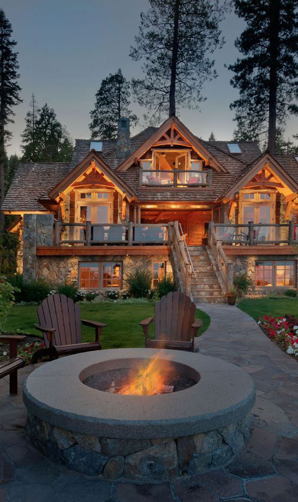 awesome-mountain-house-with-outdoor-fireplace - HomeMydesign on Mountain Backyard Ideas  id=80239