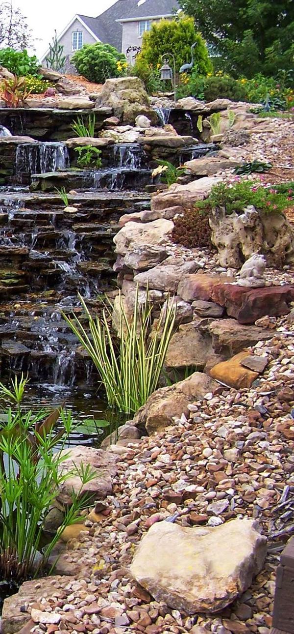 35 Dreamy Garden With Backyard Waterfall Ideas | HomeMydesign on Waterfall Ideas For Garden id=85920