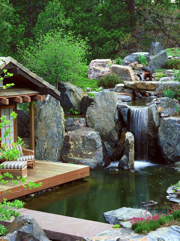 15 Pretty Garden Pond With Deck Design   HomeMydesign on Small Pond Waterfall Ideas id=19213