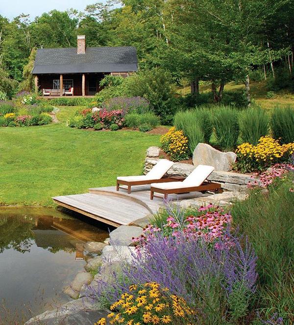 15 Pretty Garden Pond With Deck Design | HomeMydesign on Backyard Pond Landscaping Ideas  id=69036