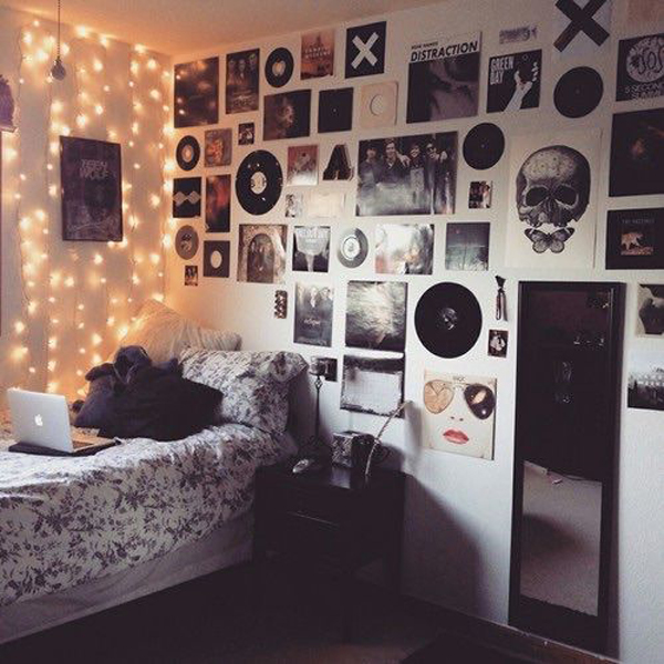 Let your kids become part of your great room's art collection by engaging in family crafts. hipsters-and-grunge-bedroom-lighting | HomeMydesign