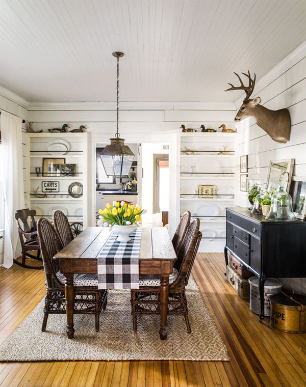 25 Calmness Dining Room With Farmhouse Style And Vintage ... on Farmhouse Dining Room Curtains  id=67399