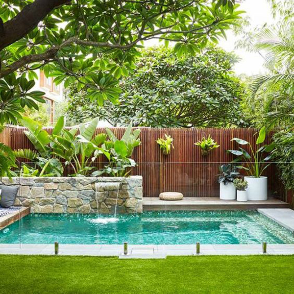backyard-pool-with-tropical-garden-ideas - HomeMydesign on Tropical Small Backyard Ideas id=23963