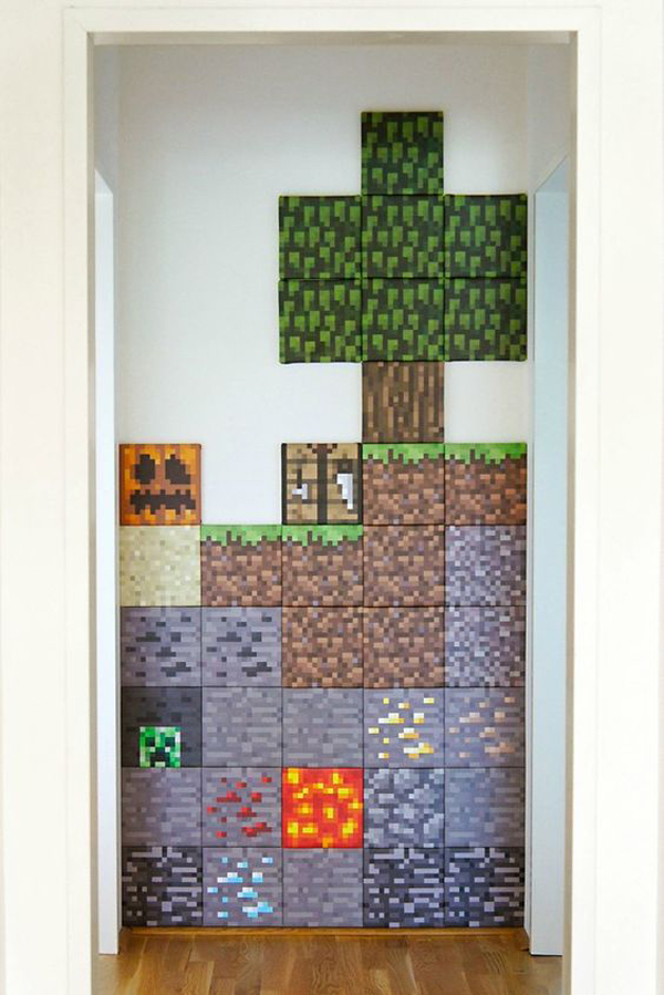 Whether you prefer barely there hues or are ready to amp up the drama in your bedroom, we have pai. diy-minecraft-wall-decor – HomeMydesign
