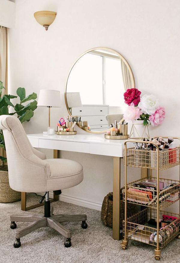 40 Feminine Makeup Room Ideas That Women Must Have ... on Makeup Room Ideas  id=38395