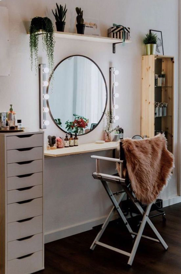 40 Feminine Makeup Room Ideas That Women Must Have ... on Makeup Room Ideas  id=22341