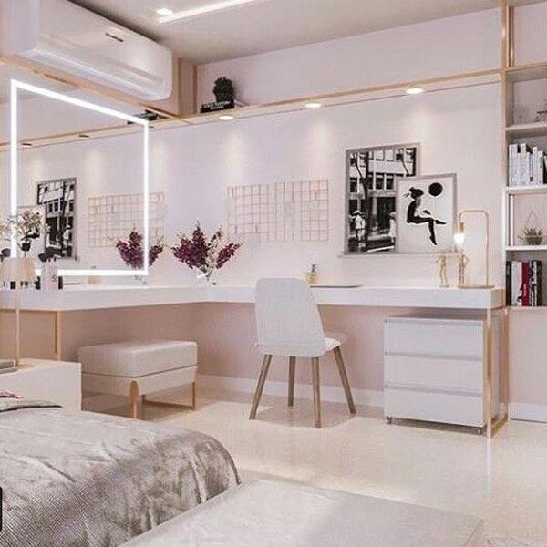 40 Feminine Makeup Room Ideas That Women Must Have ... on Makeup Room Ideas  id=34306