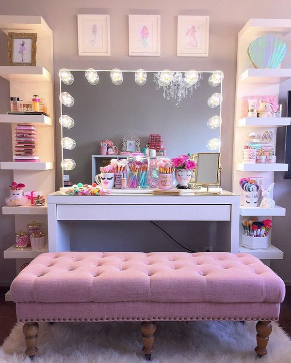 32 Stylish Home Makeup Room Ideas That All Women Must Have ... on Makeup Room Ideas  id=95418