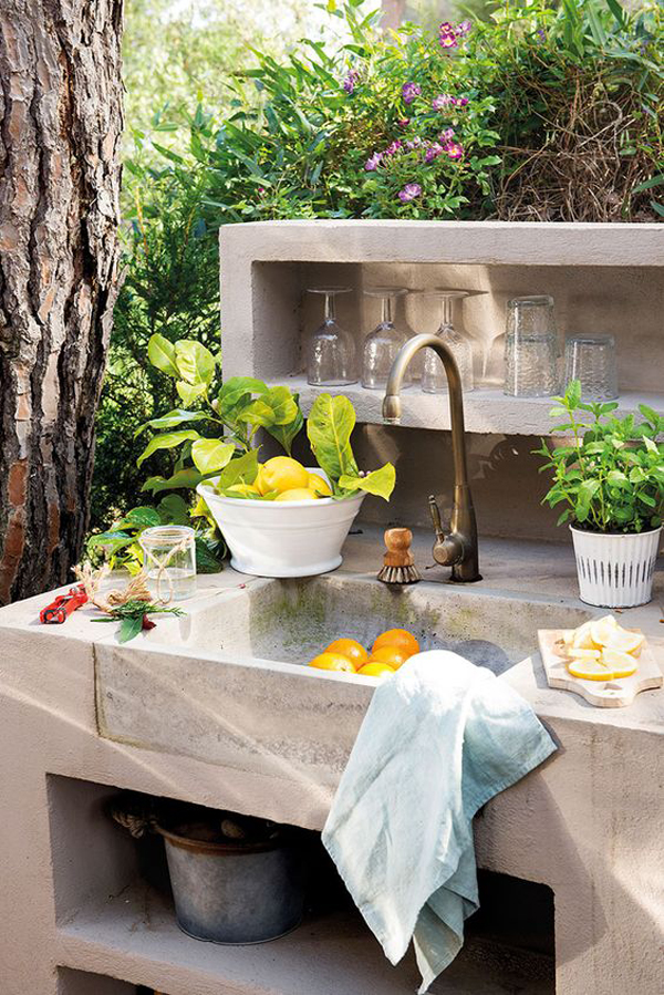 beautiful outdoor kitchen with sink