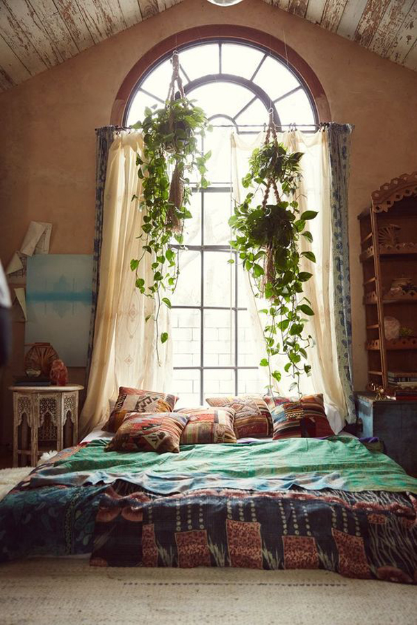 Inspirational interior design ideas for living room design, bedroom design, kitchen design and the entire home. cozy-bohemian-bedroom-ideas-with-window-plant | HomeMydesign