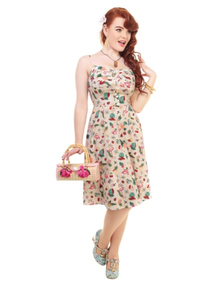 Robe Collectif Fairy Atomic Flamingo Print Dress Flamant Rose imprimé Pin-up 50's
