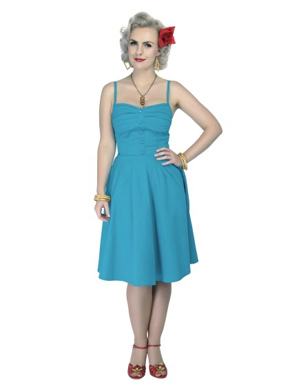 Robe Collectif Fairy Plain Dress Teal Bleu sarcelle pin-up 50's