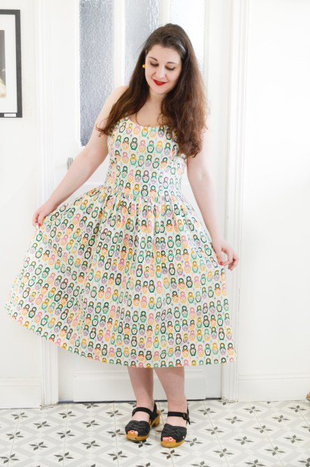 robe retro pinup poupées russes Tatyana 50s Matryoshka Nesting Dolls Swing Dress