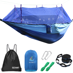 SZXKT-Camping-Double-Hammock-Mosquito-Net-Outdoor-Hammock-Travel-Bed-Lightweight-Parachute-Fabric-Double-Hammock