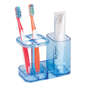 mDesign-Bathroom-Vanity-Countertop-Acrylic-Toothpaste-Toothbrush-Holder-Stand