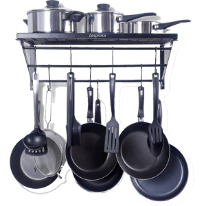 ZESPROKA-Kitchen-Wall-Pot-Pan-Rack---Black