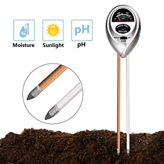 Jellas Soil pH Meter, 3-in-1 Moisture