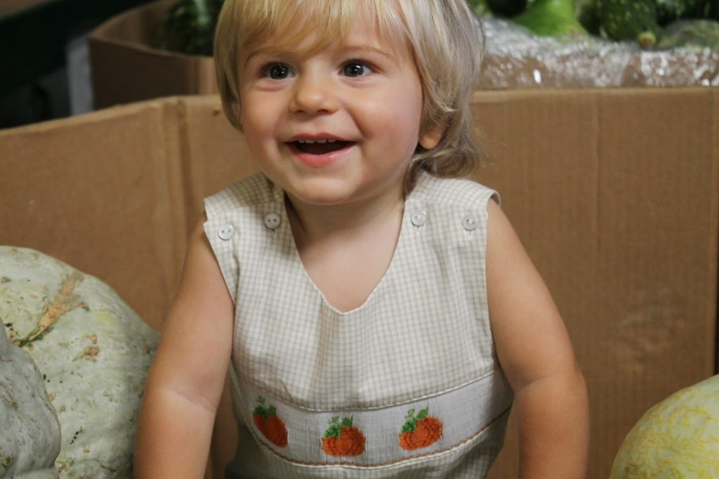 Smocked Auctions Pumpkin Gingham Jon Jon  2b51210007e6
