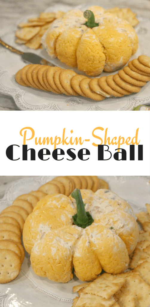 Pumpkin-Shaped Cheese Ball for Fall. The perfect appetizer for a Halloween or Thanksgiving party.
