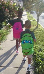 school kids walking