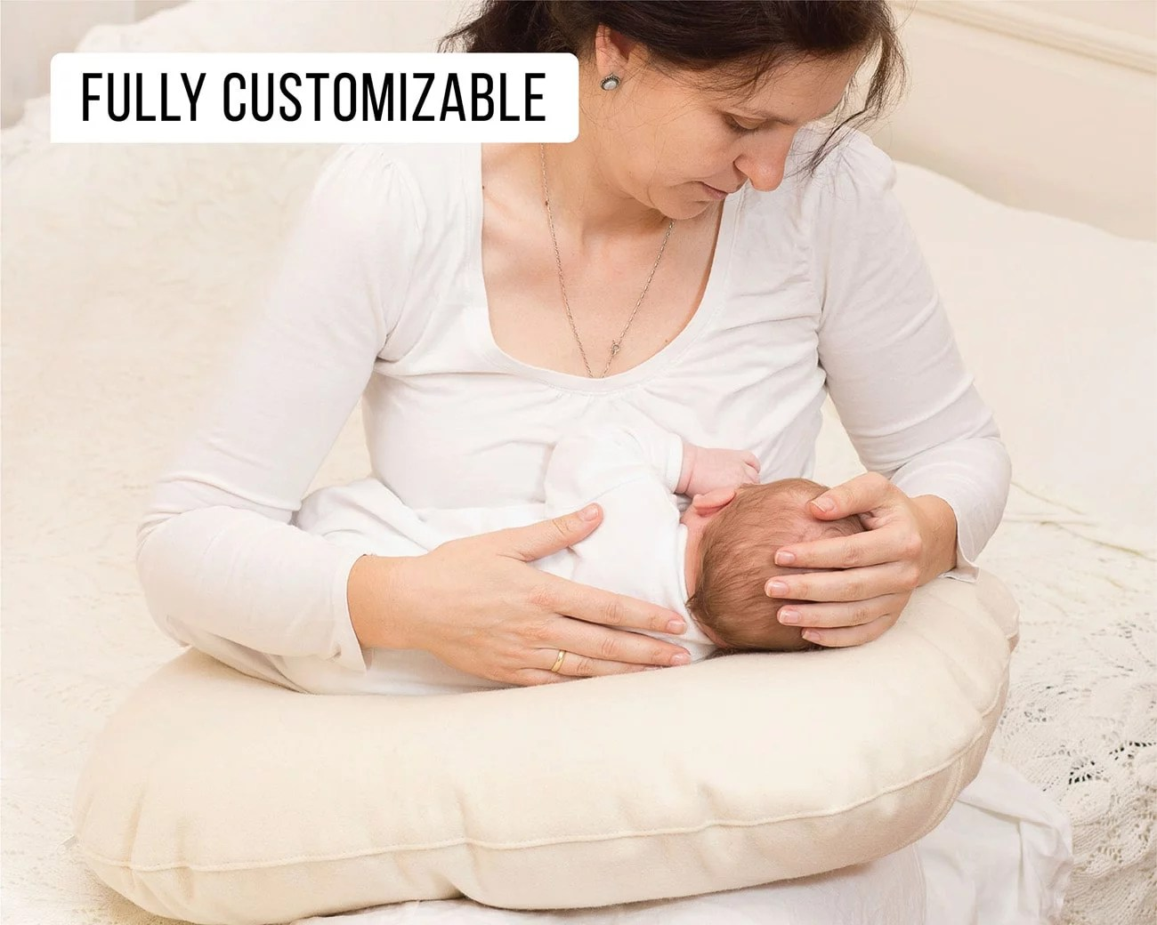 wool nursing pillow boppy size with removable cover