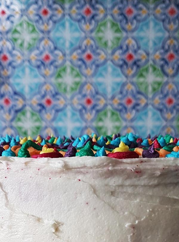 rainbow mandala cake