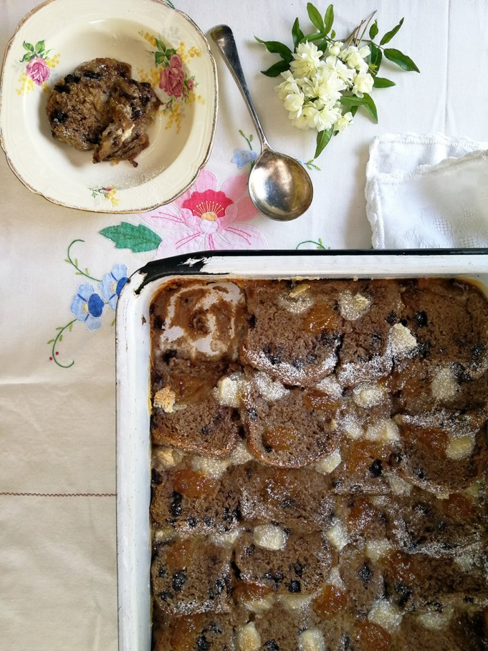 bread and butter pudding vintage table cloth