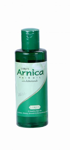 Lords Arnica Hair care Oil with Jaborandi, Cantharis, Amla, China and sandalwood. Hair fall control oil.