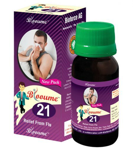 Blooume 21 INFLUAFORCE drops, Homeopathic medicine for Influenza, relief from Flu