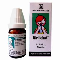 Schwabe Rinikind globules for rhinitis due to cold, allergies, sneezing in children.