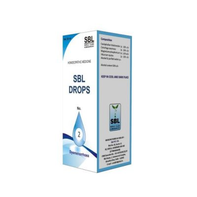 SBL Drops No 2 for Dysmenorrhoea, painful periods, menstrual cramps, homeopathic medicine for women