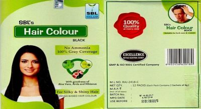 Sbl Hair color Black|Henna based hair colour with amla, aloevera, Hibiscus, 100% Gray coverage
