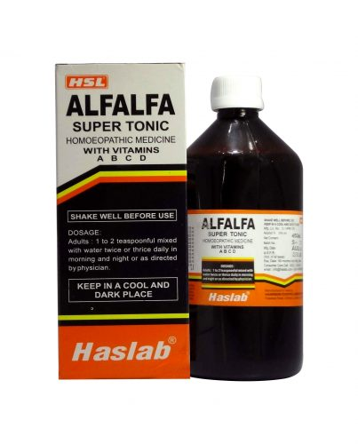 Haslab Alfalfa Super Tonic (with Vitamins A,B,C,D), homeopathic tonic for weight gain appetizer, helps build body, add weight not flab formula, increases body weight naturally