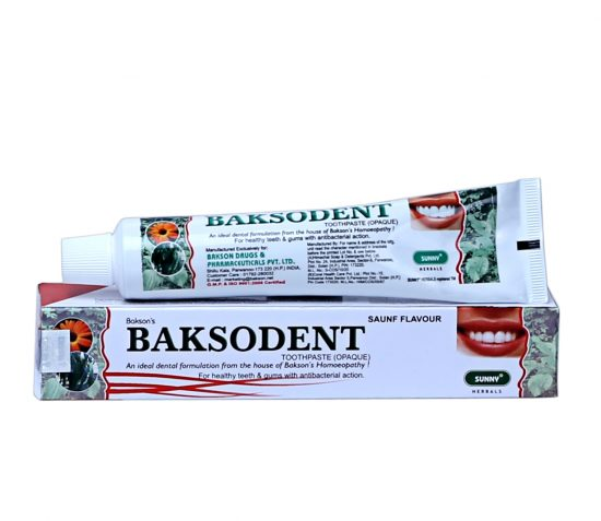 Bakson BAKSODENT Toothpaste with anti-bacterial action (saunf flavour). For healthy teeth, Gums