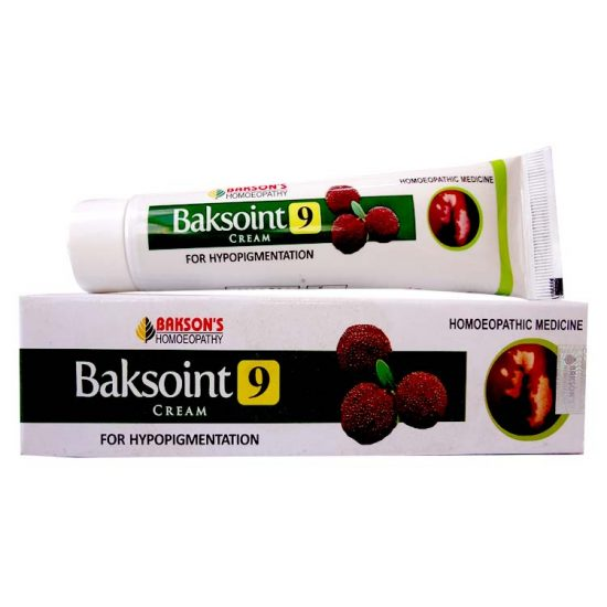 Bakson Baksoint 9 Cream for hypopigmentation treatment, white skin patches due to Vitiligo or Leucoderma, Eczema, Psoriasis, Burns