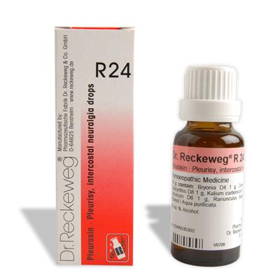 Dr. Reckeweg R24 drops for infammation of internal organs, intercostal neuralgia (pain in ribs), Acute appendicitis, Pleurisy, ovarits