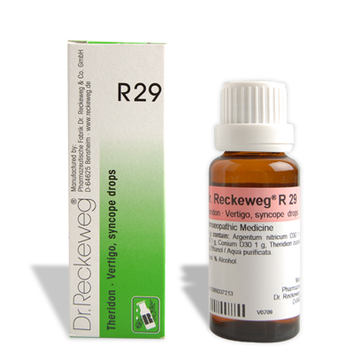 Dr. Reckeweg R29 homeopathy drops for Vertigo, syncope, circulatory problems, dizziness, buzzing in ear