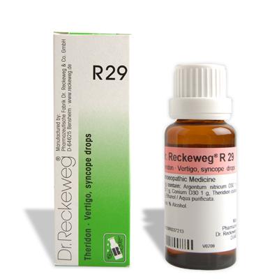 Dr. Reckeweg R29 homeopathy drops for Vertigo, syncope, circulatory problems, dizziness, buzzing in ear