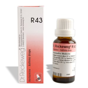 Dr. Reckeweg R43 homeopathy drops for asthma, shortness of breath, Ascites, wheezing, coughing, chest tightness