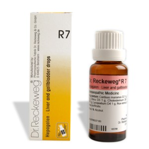 Dr. Reckeweg R7 Liver and gallbladder drops, Uric acid diathesis, Ascites, Cholelithiasis, Cholangitis, Cirrhosis of liver, Conjunctivitis