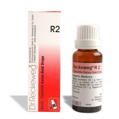 Reckeweg R2 Essentia aurea Gold drops homeopathy medicine for heart, angina pectoris, coronary sclerosis, heart attack, Aortalgia