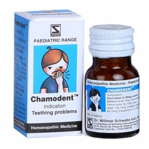 Schwabe Chamodent tablets for teething problems in infants, homeopathic teething tablets for children