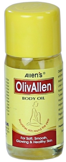 OLIV ALLEN body massage oil -for silky smooth glowing skin, Olive oil