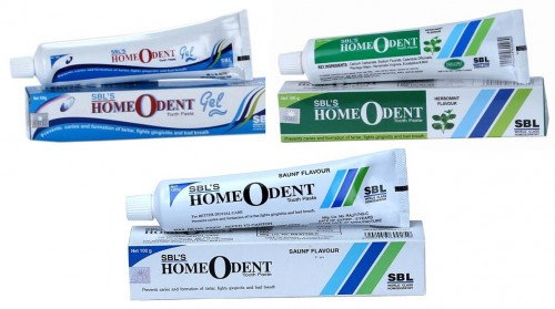 SBL Homeodent homeopathic Gel and Toothpaste in Herbomint, Saunf flavour, natural dental care.