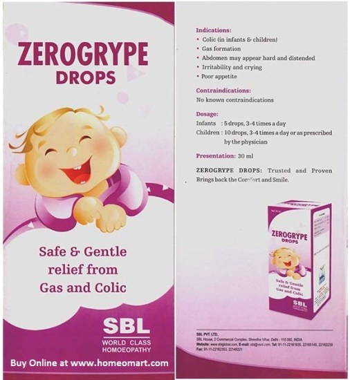 SBL Homeopathy Zerogrype drops for Gas & colic in Babies, children