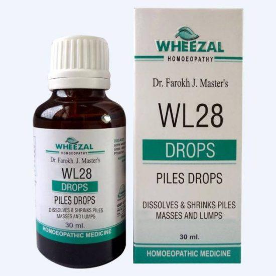 Wheezal WL 28 Homeopathic Piles Drops - Dissolves & Shrinks Piles Masses, Lumps