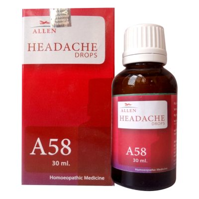 Allen A58 Headache drops-homeopathy medicine for migraine, headache due to sun, Indigestion nervousness, mental stress,